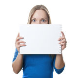 Woman holding blank sign Royalty Free Stock Photography