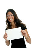 Woman holding blank sign Royalty Free Stock Photo