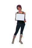 Woman Holding a Blank Sign Stock Photos