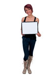 Woman Holding a Blank Sign Stock Images