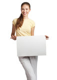 Woman holding a blank signboard Royalty Free Stock Images
