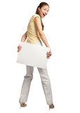 Woman holding a blank signboard Royalty Free Stock Photo