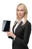 Woman holding blank touch pad Royalty Free Stock Photography