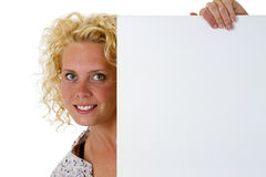 Woman holding blank white message board Stock Images