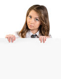 Woman holding a blank white poster Stock Photography