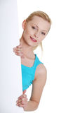 Woman is holding blank whiteboard sign Royalty Free Stock Photography