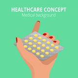Woman holding blister pack of pills in his hands. Health care concept.  Stock Photos