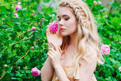 Woman holding blooming rose flower Royalty Free Stock Images