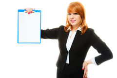 Woman holding blue clipboard with blank Stock Image