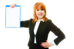 Woman holding blue clipboard with blank Stock Photo