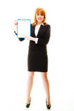 Woman holding blue clipboard with blank Stock Images