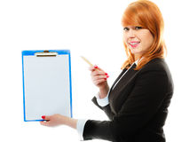 Woman holding blue clipboard with blank Royalty Free Stock Images