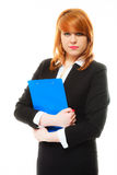 Woman holding blue clipboard Stock Photo