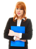 Woman holding blue clipboard Royalty Free Stock Images