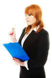 Woman holding blue clipboard Royalty Free Stock Photography