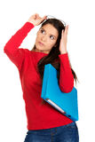 Woman holding blue folder. Young student woman holding blue folder stock images
