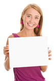 Woman holding board stock image