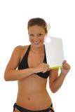 Woman holding board stock photo