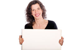 Woman holding board Stock Images