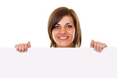Woman holding board on white Royalty Free Stock Images