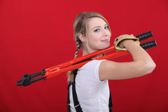 Woman holding bolt cutter Stock Photo
