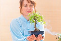 Woman holding bonsai tree Stock Photo