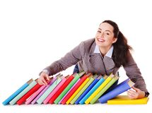 Woman holding book. Royalty Free Stock Photos