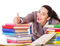 Woman holding book. Isolated stock photo