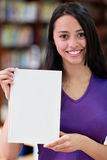 Woman holding a book Stock Photo