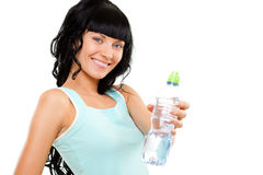 Woman holding bottle Stock Photo