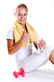 Woman holding a bottle of water Stock Photography
