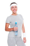 Woman holding bottle of water Stock Images