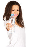 Woman holding a bottle of water. Royalty Free Stock Images