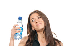 Woman holding a bottle of water in her hand Royalty Free Stock Photo