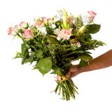 Woman holding bouquet Royalty Free Stock Image