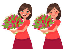 Woman holding a bouquet of flowers and inhale its aroma. Vector. Illustration in cartoon style Stock Image