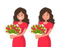 Woman holding a bouquet of flowers and inhale its aroma. Vector illustration in cartoon style Stock Illustration