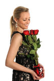 Woman Holding Bouquet of Red Roses Royalty Free Stock Image