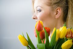 Woman holding bouquet of tulips flowers royalty free stock photography