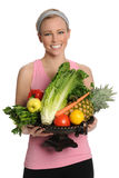 Woman Holding Bowl With Fruits and Vegetables Stock Photo