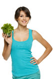 Woman holding bowl with lettuce Royalty Free Stock Photography