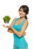 Woman holding bowl with lettuce Stock Photography