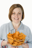 Woman Holding Bowl Of Nachos Stock Images