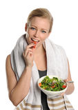 Woman holding a bowl of salad Stock Photos