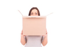 Woman holding a box. Stock Image. Royalty Free Stock Photography
