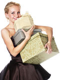 Woman holding boxes of gift Stock Images