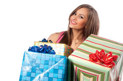 Woman holding boxes with gifts Stock Image