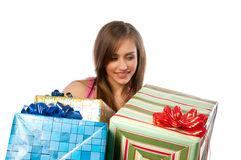 Woman holding boxes with gifts Royalty Free Stock Image