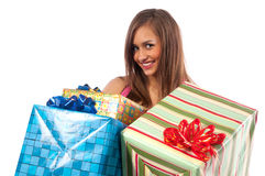 Woman holding boxes with gifts Stock Photos