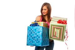 Woman holding boxes with gifts Stock Photography